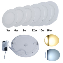 AC85-265V ultra-thin led round panel light 3W 6W 9W 12W 15W 18W Home Furnishing decorative light white and warm white optional