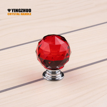 30mm Newest Arrival Fashion Cabinet Cupboard Wardrobe Red Crystal Glass 30mm Drawer Knob Pull Handle Free Shipping