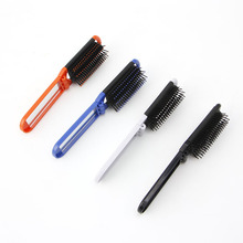 New Portable Folding Hair Brush With Mirror Compact Pocket Size Comb For Purse Bag White/Blue/Orange/Black(China)