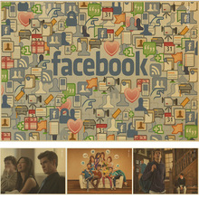 The facebook media and network Vintage Kraft Paper Poster Wall Art Crafts Sticker for home decor bar coffee room(China)