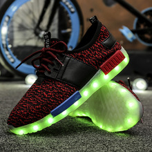 2016 Latest High Quality Fashion LED 7 Colors 11 Mode Light Shoes 4 Color LED Light Up Fly Weaving Casual Shoes For Men 929