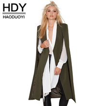 HDY Haoduoyi 2016 Women Casual Open Front Blazer Suits with Pocket Cape Trench Coat Duster Coat Longline Cloak Poncho Coat(China)