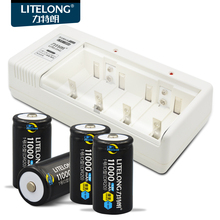 4pcs x High capacity Ni-MH 11000mAh D Rechargeable Battery+Universal Charger for 9v/AA/AAA C D Size Ni-MH Rechargeable Battery(China)