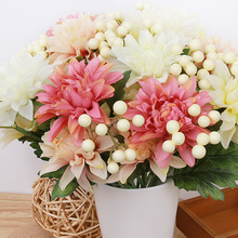 Artificial Large Silk Flower Bouquet Roses Dahlias Flowers with Fake Leaf Home Wedding Decor