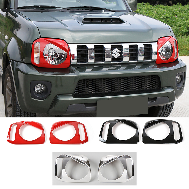 Hot Sales Chrome ABS Angry Eyes Front Head Light Lamp Guards Protective Cover Frame for Suzuki Jimny<br>