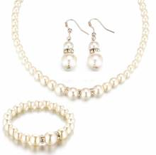 Tomtosh 2016 New Simulated Pearl Wedding Jewelry Set Crystal Necklace Fine Jewelry Party Women Beads Bridal Earrings Accessories