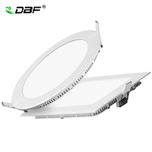 Ultra Thin LED Panel Downlight Dimmable 3W 4W 6W 9W 12W 15W 18W 24W Round/Square LED Ceiling Recessed Downlight White/Warm white(China)