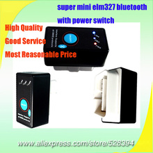Wholesale High Quality V1.5 OBDII OBD OBD2 Scanner super mini elm327 bluetooth with power switch(China)