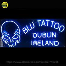 Neon Sign BLU TATTOO Neon Bulbs SKULL IRELAND Recreation Room Iconic Glass Tube Handcrafted Professional Night Lamp 37x20 Inch