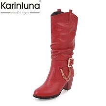 KARINLUNA 2017 Large Size 33-47 customize Platform Women Shoes Fashion square Heels Woman Boot Black western Boots Chains Winter(China)