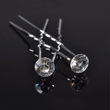 2017 Real Round Trendy Stainless Steel Hairpins 10pcs Lots New Princess Mini Crystal Beads Wedding Bridal Tiara Hair Pins Clips
