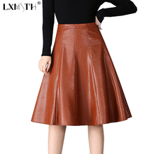 4XL Pu Faux Leather Skirt A Line Midi Umbrella Skirt Zipper Laies Knee Length Skirts Empried Slim Women Skirts Plus Size Black(China)