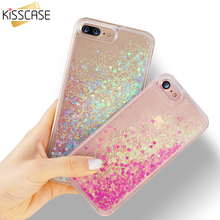 KISSCASE Phone Case For iPhone 7 8 Plus Cover Pelicula Liquid Quicksand Glitter Case For iPhone 6 6s Plus Cute Patterned Cases(China)