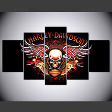 Promotion 5 panel Modern harley davidson skull logo hd Art print canvas art wall unframed paintings for living room wall picture(China)