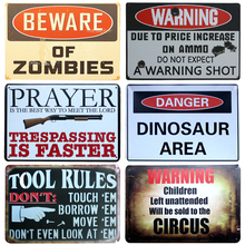 Beware Of Zombies Chic Home Bar Vintage Metal Signs Home Decor Vintage Tin Signs Pub Vintage Decorative Plates Metal Wall Art(China)