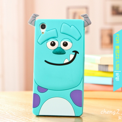 Monsters University Cute 3D Cartoon Sulley Silicone Cover Case Sony Xperia Z2 Capa Celular Free Ship
