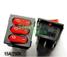5PCS Triple ship type switch  power switch red 9 pin 15A/250V 5