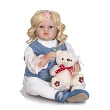 New 28 Inch Silicone Reborn Dolls Lovely princess girl reborn toddler dolls blond hair wig bebe kids gift reborn