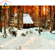 Digital Diy oil painting by numbers landscape wall decor picture on canvas oil paint coloring by number drawing snow house E556(China)