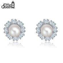 Effie Queen  New Arrival Elegant Pearl Earrings with Austrian Crystal Stud Earrings for Girls Wholesale Jewelry DHE08