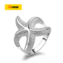 BX21 Classic Marine life starfish Vintage Finger Ring For Womens Silver color Fashion Brand Party Jewelry anel aneis New