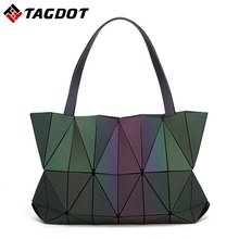 2017 New Women Luminous Triangle BAOBAO Bag Geometry Package Matte Saser Plain Folding Ladies Handbags Sac Shoulder Bags Tote