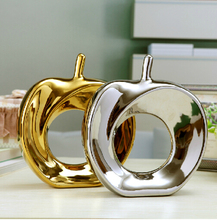 Home Deocrative Ceramic Porcelain Gold Or Silver Glazed Apple For Gift(China)