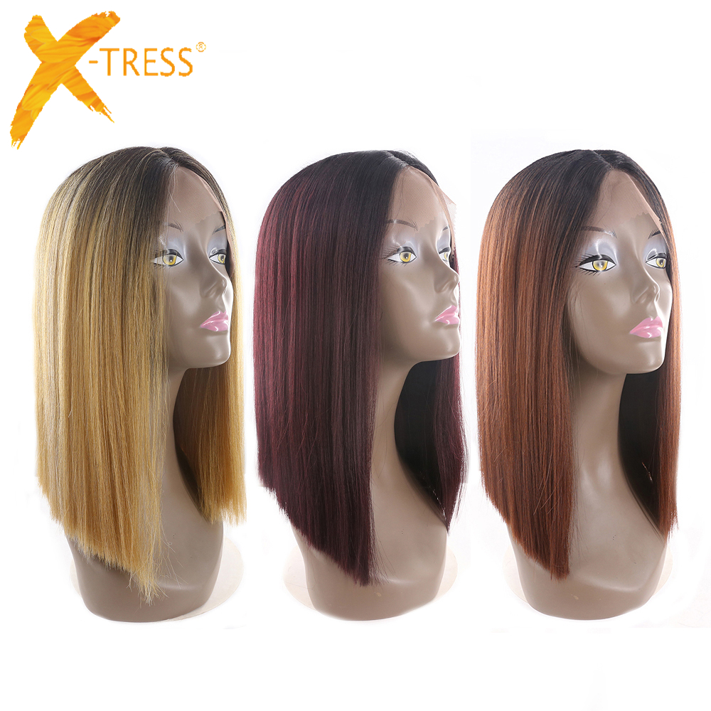 Ombre Black Blonde Red Color Short Bob Lace Front Synthetic Hair Wigs X-TRESS Yaki Straight Middle Parting Blunt Wigs For Women(China)