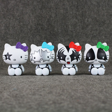 High quality 4pcs/set  10cm Cartoon Hello Kitty Bank KISS Kitty PVC Action Figure Model Toys Dolls Baby Toy