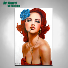 Hand Painted Portrait oil painting reproduction of Brian M. Viveros Blue Rose Sexy Girl painting for living room The dancer(China)