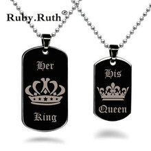King & Queen Couple Necklaces Black Tag Pendant Necklace Stainless Steel Valentine's Day Gift(China)
