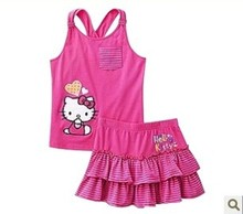 2014 New children clothing set baby girl 2 pcs summer set kid's Halter dress baby's Hello kitty sleeveless tee+ skirt suit 1-5T