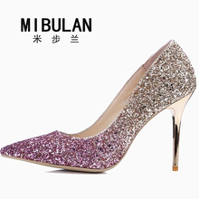 shoes woman 2017 women's shiny fashion sexy sequined cloth wedding pumps women's shining Gradient color big size party pumps(China)