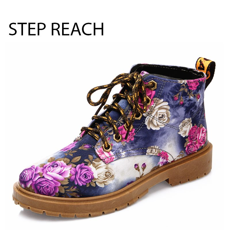 STEPREACH Brand shoes woman women Martin shoes flowers sapato feminino zapatos mujer talon pumps lace-up fashion rubber sexy<br>