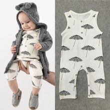 Toddler Kids Baby Boy Girl Sleeveless Umbrella Print Romper Jumpsuit Outfits Clothes Set Playsuit Size 0-24M