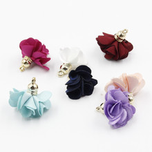 12Pcs Charm Mini Tassel flower Necklace Earring Findings Tassels DIY for Jewelry Making 24pcs/lot Free Shipping(China)