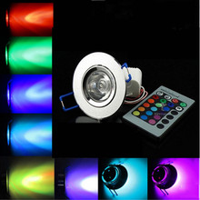 3W RGB LED Ceiling Down Lights Recessed spot light lamp Bulbs AC 90V-260V 3W downlight AC/DC 12V Birthday party Colorful lights