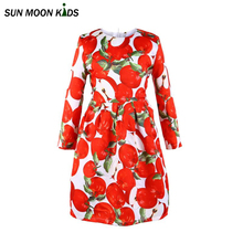 Sun Moon Kids Beautiful Girl Dress Long Sleeve Baby Girls Party Dress Autumn Costume Children Clothing Christmas Kids Clothes