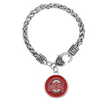 Fishhook Women Jewelry OSU Ohio State NCAA Football Buckeyes Swirl Heart Charm Bracelet(China)