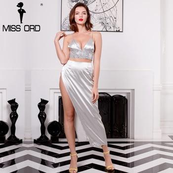 Missord 2017 sexy cuello en v arnés satén de alta dividir rhinestone de dos piezas dress ft8112