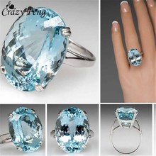 Buy Crazy Feng Big Ocean Blue CZ Crystal Rings Female Prong Setting Crystal Engagement Ring Jewelry Wholesale Bijoux Accessories for $1.32 in AliExpress store