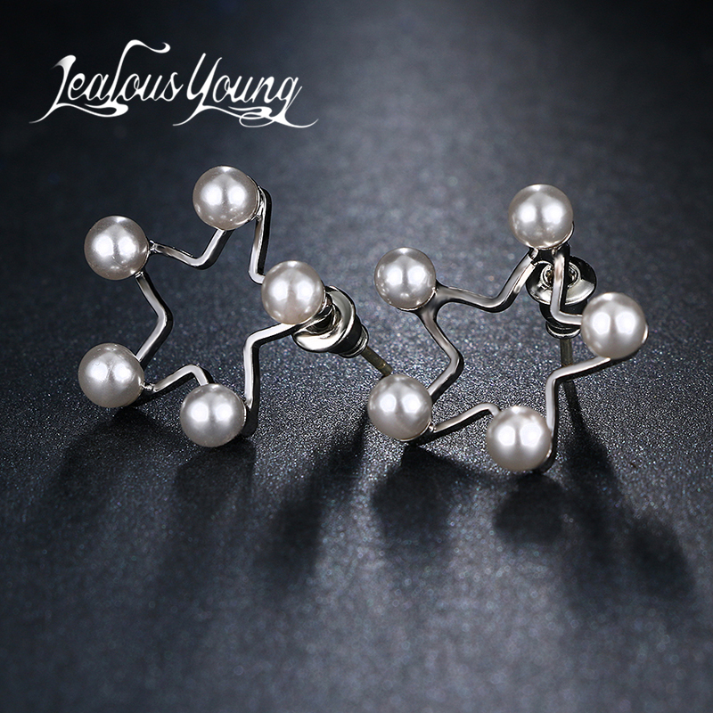 2017 New Fashion Imitation Pearl Stud Earrings For Girl Star Starfish Earings Studs Ear Brincos Fashion Jewelry AE427(China)