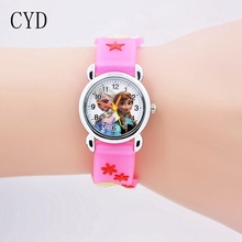 2016 fashion 3D Cartoon kids Watches Children Girls Boys Elsa and Anna Watch Casual Silicone Quartz Wristwatch Relogio Clock