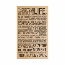 HOT World Popular Quote This Is Your Life Vintage Painting Inspiration Words Kraft Paper Posters Wall Stickers Home Decor Art