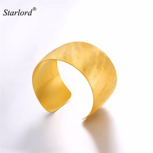 Big Cuff Bracelet Solid Stainless Steel Gold/Black Color Boho Statement Bangle Wide Cuff Bangle Bracelet For Women GH2735(China)