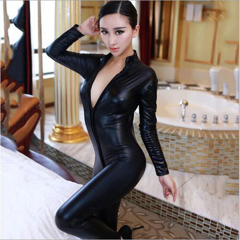2018Hot Lady Sexy Faux Leather Latex Zentai Catsuit Smooth Wetlook Jumpsuit Front Zipper Elastic Black PU Bodysuit Slim Clubwear
