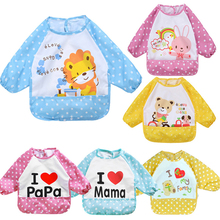 [QianQuHui] Promotions!!!New Cartoon Baby Bibs Waterproof Long Sleeve Burp Cloths Feeding Art Smock Apron Cute Infant Clothing(China)