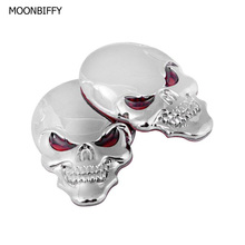 1 Pcs Metal 3D Skull Car stickers Logo Emblem Badge Truck Auto Motor Car Styling Sticker Decal 3 Colors(China)