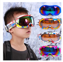 2016 New style Free shipping Children's version of spider double-layer anti-fog windproof mirror spherical lens kids ski goggles