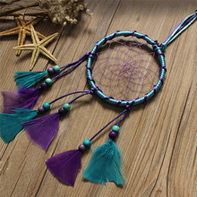 Mini India Style Car Handmade Blue Purple Dream Catcher Circular Net With Feather Wall Window Hanging Decoration Decor Ornament